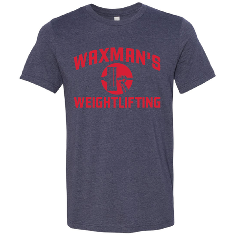 New: Waxman's Weightlifting Unisex T - Navy and Red - Waxman's Gym