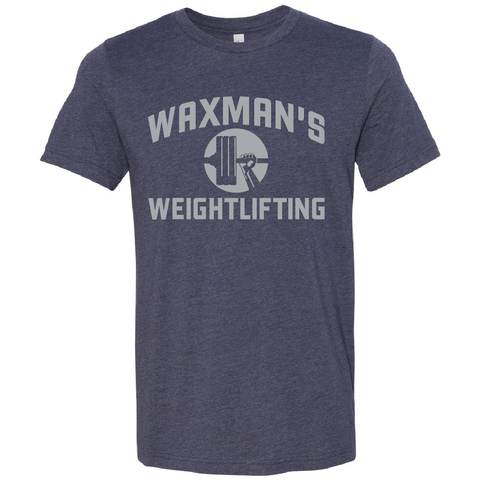 New: Waxman's Weightlifting Unisex T - Navy and Grey - Waxman's Gym