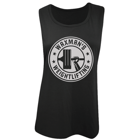 Women's Muscle Tank Black - White Front Logo - Waxman's Gym