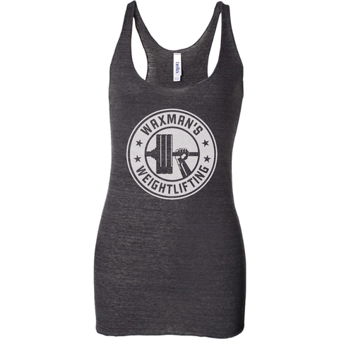 Women's Triblend Racerback Tank - All White Logo - Waxman's Gym