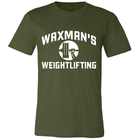 New: Waxman's Weightlifting Unisex T - Olive and White - Waxman's Gym