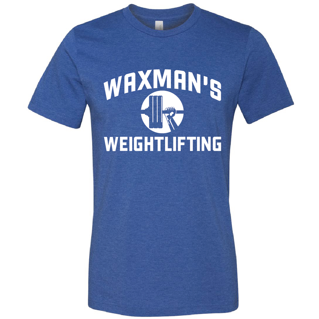 New: Waxman's Weightlifting Unisex T - Heather Royal and White - Waxman's Gym