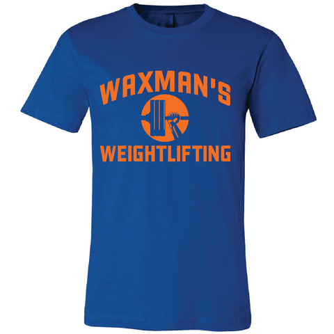 New: Waxman's Weightlifting Unisex T - Royal Blue and Orange - Waxman's Gym