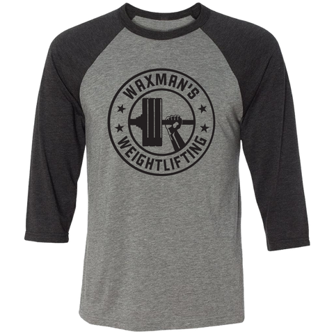 Triblend Charcoal and Grey Baseball Tee - Unisex - Waxman's Gym