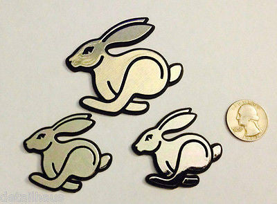 3 Pack - Silver/Chrome Running Rabbit Bunny Badges