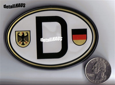 Oval White Deutschland D with Shields/Crests - German Badge