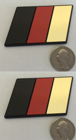 Set of 2 - German Flag Racing Euro Badges (BRG: Black, Red, Gold) - Medium Size