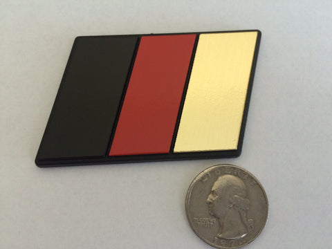 German Flag Racing Euro Badge (BRG Black, Red, Gold)- Medium Size