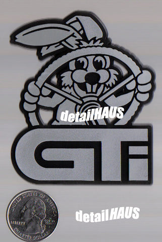 Silver/Chrome Driving Rabbit Bunny GTI Badge