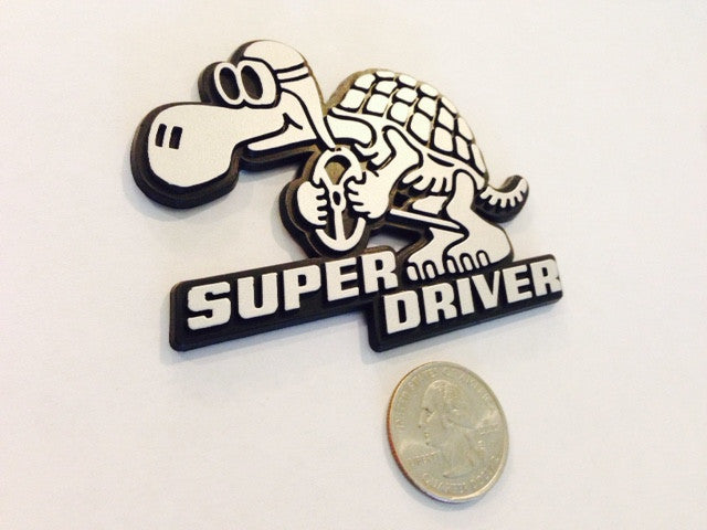 Silver/Chrome Super Driver - Racing Turtle Badge