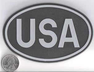 Large Oval Black USA Country Badge