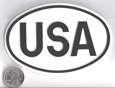 Large Oval White USA Country Badge