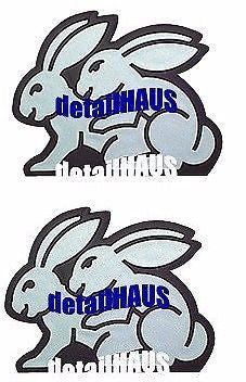 2 Pack - Silver/Chrome Bunny Rabbits Badges