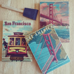 Cuppa Fog image transfer class - SF Vintage Travel Posters