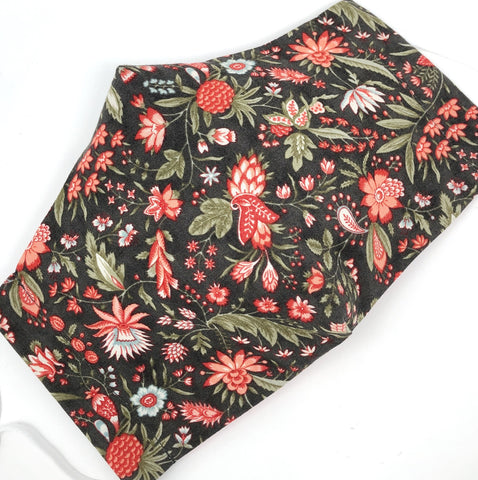 Cloth Face Mask - #288 - Coral Pink and Lt Green Floral on Brown Gray