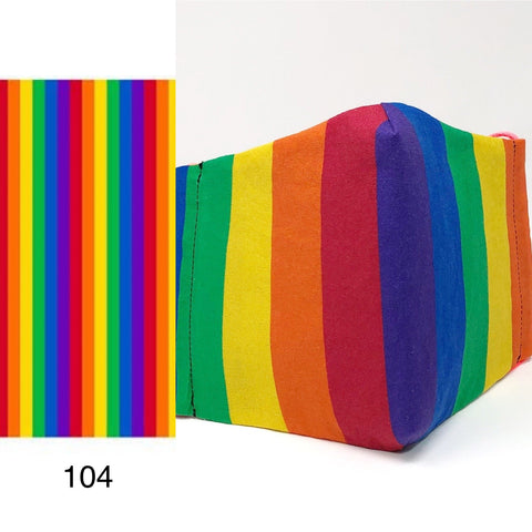 Cloth Face Mask - #104 - Rainbow Pride Stripe