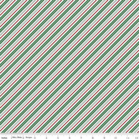Cloth Face Mask - #212 - Green, Red, & White Candy Cane Diagonal Stripe