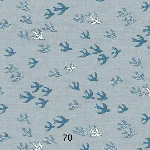 Cloth Face Mask - #70 - Swallows on Slate Blue
