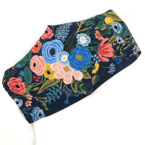 Cloth Face Mask - #144 - Rifle Paper Wildwood Flowers on Navy
