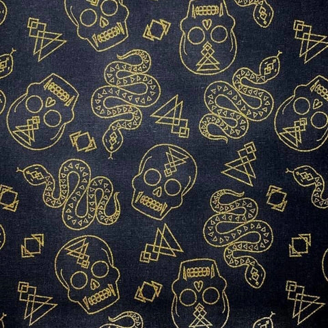 Cloth Face Mask - #181 - Metallic Gold Vampire Skulls, Snakes, and Symbols on Black