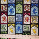 Cloth Face Mask - #215 - Harry Potter Hogwarts Houses Stained Glass on Black