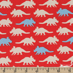 Cloth Face Mask - #246 - Triceratops Silhouette on Red