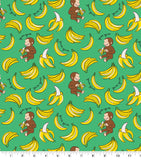 Cloth Face Mask - #140 - Curious George Bananas on Green