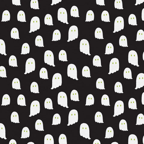 Cloth Face Mask - #168 - White Ghosts on Black