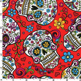 Cloth Face Mask - #172 - Sugar Skulls on Red