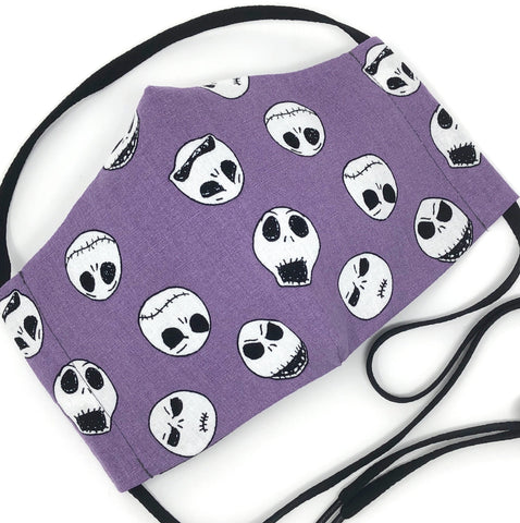Cloth Face Mask - #177 - Jack Skellington Faces on Purple (Nightmare Before Christmas)