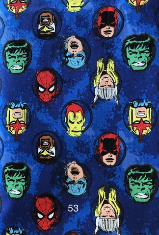 Cloth Face Mask - #53 - Marvel Heads on Blue