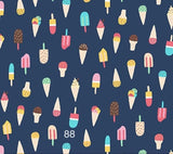 Cloth Face Mask - #88 - Ice Cream & Popsicles on Navy