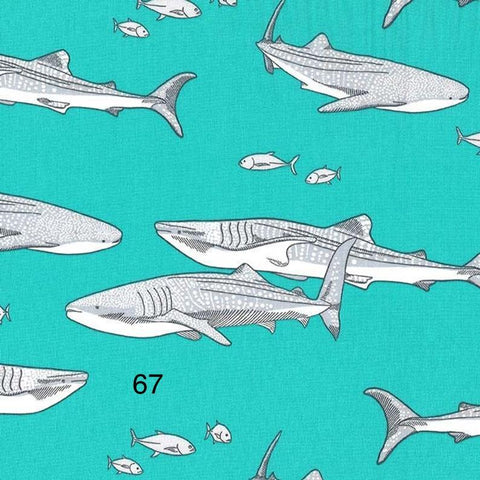 Cloth Face Mask - #67 - Sharks on Aqua