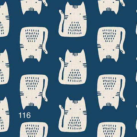 Cloth Face Mask - #116 - White Cats on Blue
