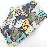 Cloth Face Mask - #255 - Sleepy Cats Lunch Party