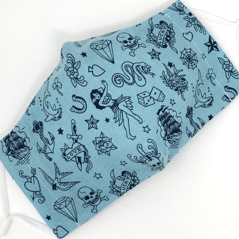 Cloth Face Mask - #238 - Navy Tattoo Flash on Lt Blue