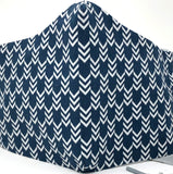 Cloth Face Mask - #84 - Navy/White Herringbone / Arrows