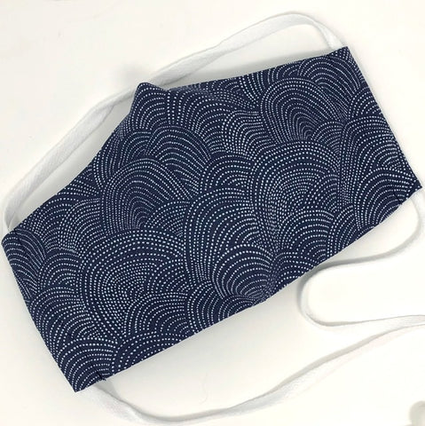 Cloth Face Mask - #108 - Blue Gray/White Dotted Scallop