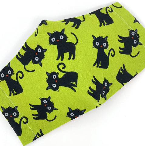 Cloth Face Mask - #176 - Black Cats on Lime Green