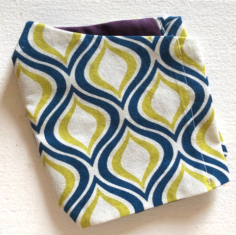 Cloth Face Mask - #5 - Lime/Navy Geo
