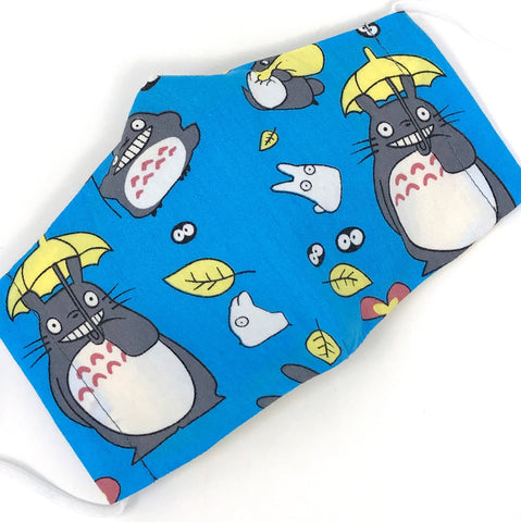 Cloth Face Mask - #196 - Ghibli Totoro with Umbrella on Blue