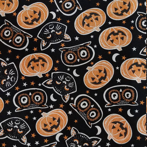 Cloth Face Mask - #174 - Owls and Pumpkins on Black