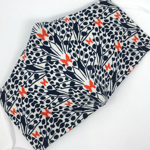 Cloth Face Mask - #285 - Geometric Orange-Red Butterflies with Navy Plants on Off-White