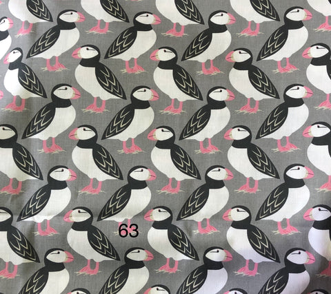Cloth Face Mask - #63 - Puffins on Gray