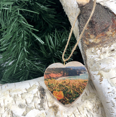 Mini Heart Ornament: Pacifica Poppy Coastal View - Hand-Transferred Photo on Wood