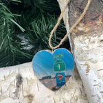 Mini Heart Ornament: Highway 1 Sign - Hand-Transferred Photo on Wood
