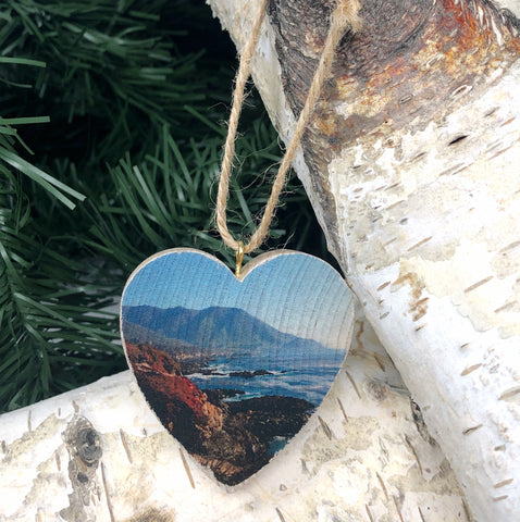 Mini Heart Ornament: Big Sur Coastal View - Hand-Transferred Photo on Wood