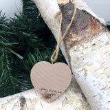 Mini Heart Ornament: Pacifica Iceplant Coastal View - Hand-Transferred Photo on Wood