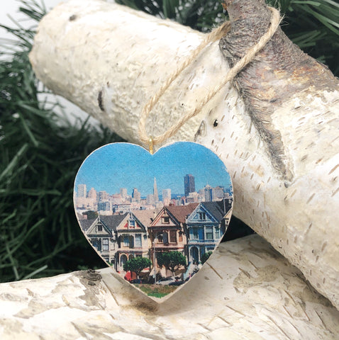 Mini Heart Ornament: Painted Ladies - Hand-Transferred Photo on Wood