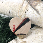 Mini Heart Ornament: Sailor's View: Golden Gate Bridge - Hand-Transferred Photo on Wood